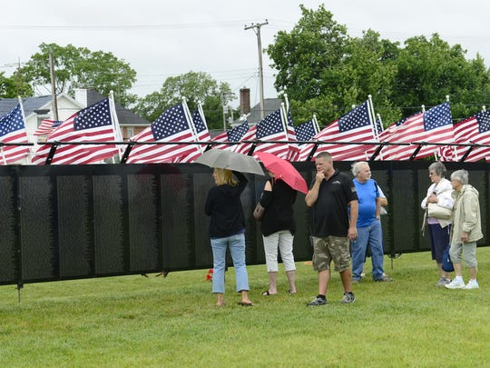 A half-size model of the Vietnam War memorial in Washington was displayed in Bellevue in June 2017. It will be set up at Camp Perry this week.