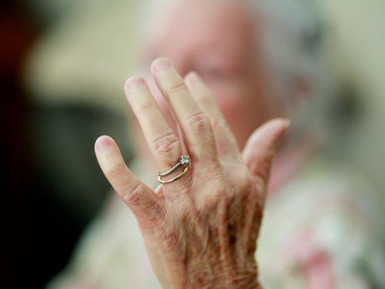 Shirley Rankin, 76, of Waynesboro wears a ring that