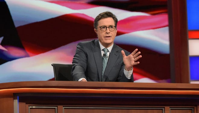 """In this July 27, 2016 photo released by CBS, Stephen Colbert, host of """"The Late Show with Stephen Colbert,"""" appears during a broadcast in New York."""