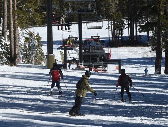 Skiers at Mt. Rose Ski Tahoe in 2016.
