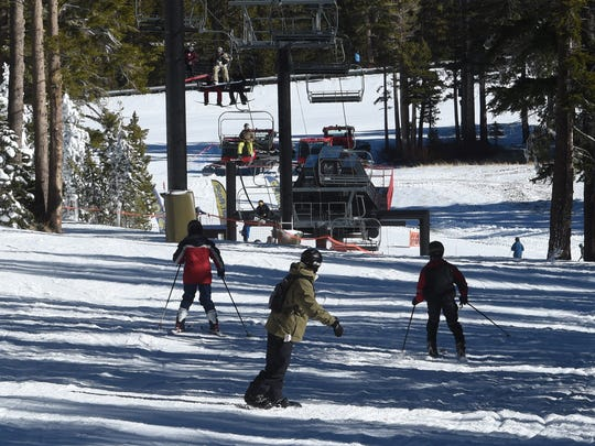 Skiers at Mt. Rose Ski Tahoe in 2016.