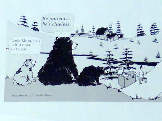 McLeod drew bears observing bad garbage practices.