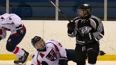 Plymouth forward Josh Weber (right), shown from a 2015-16 contest, is one of the team's veterans.