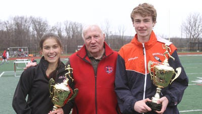 John Covert (c) with 2016 Covert Mile winners Vicky Martinez of Fox Lane and Ryan Gallagher of Briarcliff
