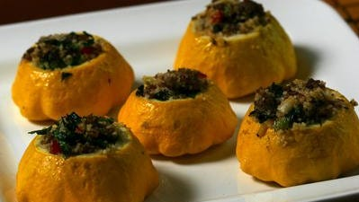 Stuffed baby pattypan squash