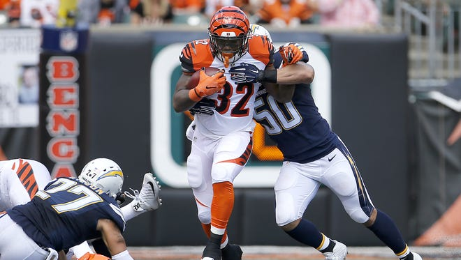 Cincinnati Bengals running back Jeremy Hill fumbled twice against San Diego, forcing him to the sidelines.