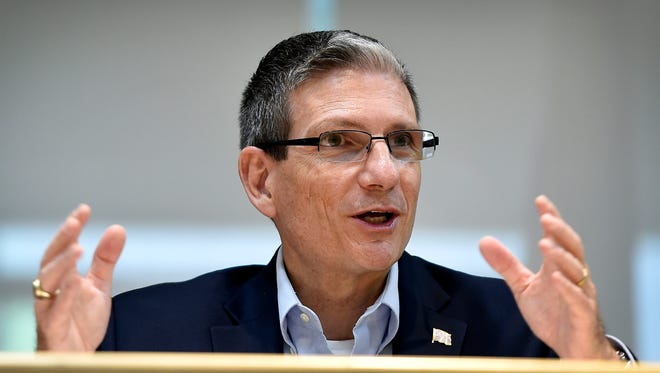 In this Thursday, June 2, 2016 photo, U.S. Rep. Joe Heck, R-Nev., speaks during a roundtable event in Henderson, Nev. Senate Minority Leader Harry Reid's retirement has created a rare open seat that offers Republicans their one real shot at winning a state now held by the Democrats. With their slim Senate majority under siege around the country, Republicans are determined to replace Reid with one of their own, Heck, a wonkish and hard-working Army reservist.