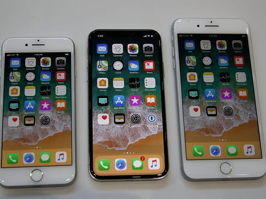 The new iPhone 8, iPhone X and iPhone 8S are displayed