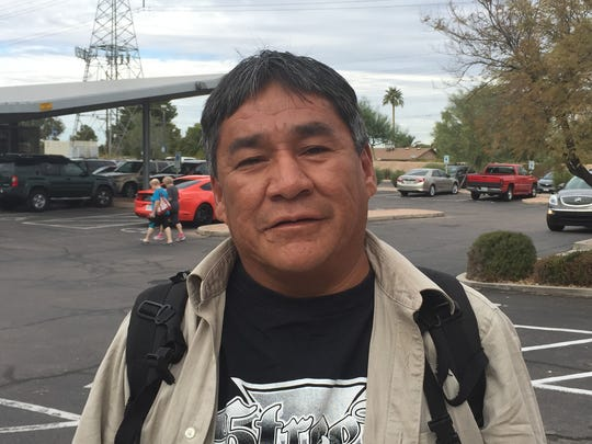 """Woodrow Begay, 44, lives """"everywhere."""" Temporary labor worker."""