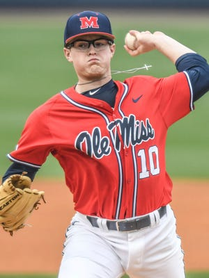 Ole Miss pitcher David Parkinson struck out six batters in seven innings against East Carolina.
