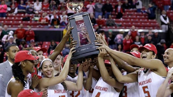 Maryland players hold up a trophy for winning the Big Ten regular-season title after an NCAA college basketball game against Penn State, Monday, Feb. 23, 2015, in College Park, Md. Maryland won 65-34.