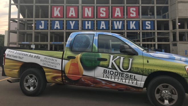 A truck run by fuel made by the University of Kansas Biodiesel Initiative.