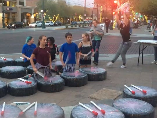 Dobson Montessori School students beat a rhythm on