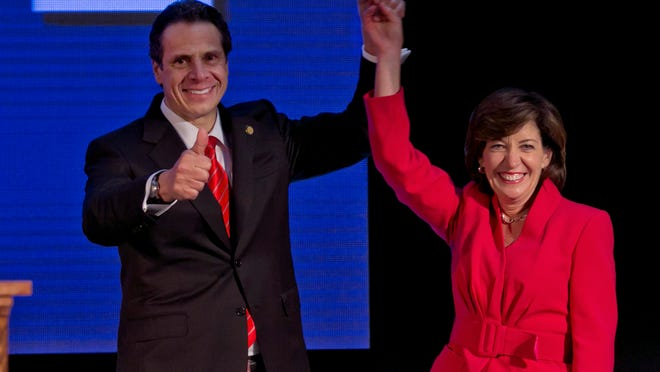 Gov. Andrew Cuomo and his running mate, former Congresswoman Kathy Hochul, at the state's Democratic Convention earlier this month.