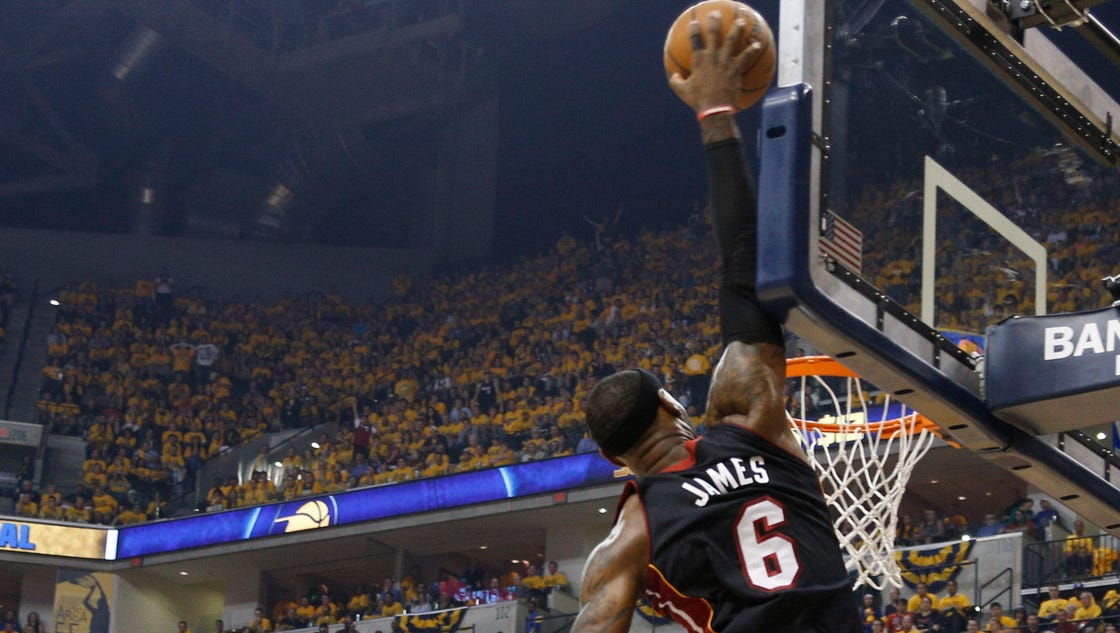 LeBron James, Heat even series, beat Pacers in Game 2