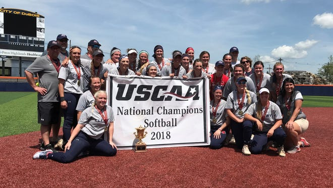 Cleary University celebrates after winning the USCAA national softball championship on Thursday, May 17, 2018.