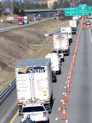 Northbound traffic is reduced to one lane on Interstate 81. Bridgework taking place at the Interstate 64 interchange caused a 4-mile traffic slowdown on Thursday, March 12, 2015.