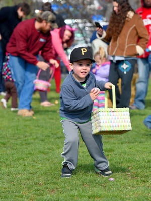 Philip Whoolery, 3, of Staunton snags another plastic egg for his basket and is ready to find more during the egg hunt for the 2 and 3-year-olds. Staunton Parks and Recreation held their annual Eggstravaganza Egg Hunt at Montgomery Hall Park on Saturday, April 4, 2015.