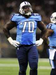 Titans guard Chance Warmack during the first half of