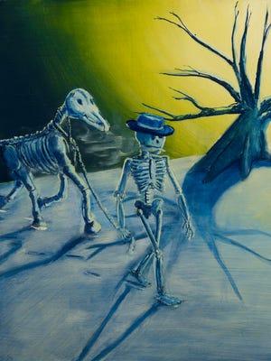 """Viaje por la Montana,"" a painting by Asheville artist Chris Corral, is part of an exhibition at UNC Asheville commemorating Hispanic Heritage Month."