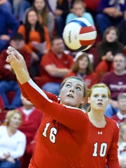 Riverheads' Kelly Coffey returns the ball during the Region 1A East championship match against Mathews on Nov. 14.