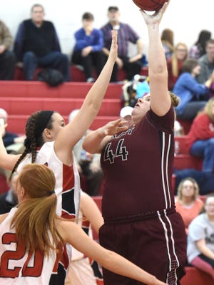 Stuarts Draft's Paetyn Beverly shoots during a basketball game played in Greenville on Friday, Jan. 15, 2016.
