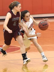 Riverheads' Christa Arehart, right, tries to get past Stuarts Draft's Rachel Sauder during a game last year. Both are back for their respective teams.