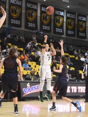 Wilson Memorial's Jordan Poole shoots during the Group 2A state semifinals in Richmond on Thursday.