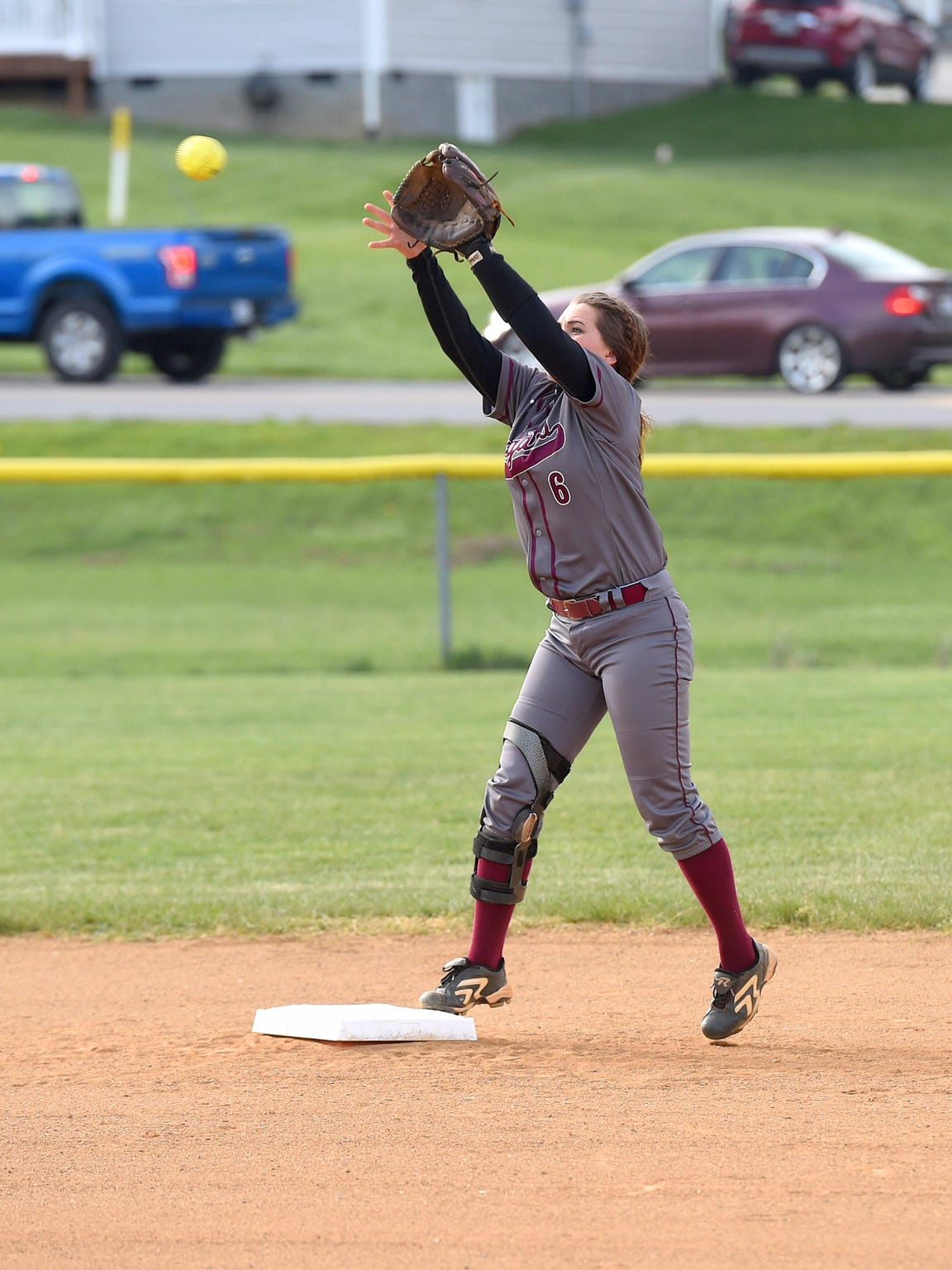 Stuarts Draft's Kayley Campbell catches a throw at second base while warming up during a softball game played in Waynesboro against Waynesboro High School on April 6, 2016.