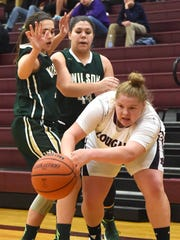 Stuarts Draft's Paetyn Beverly passes the ball while