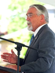 Del. Dickie Bell, R-Staunton, addresses those gathered during the dedication for the Woodrow Wilson General Hospital memorial monument in Fishersville Monday, May 30, 2016.