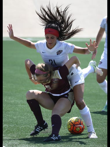 UTEP's Bri Barreiro, top, fought collided with Jamie