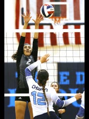 Horizon's Ashley Alvidrez blocks a shot by Chapin's