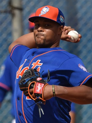 New York Mets relief pitcher Jeurys Familia, shown during 2016 spring training workouts in Port St. Lucie, was involved in a domestic violence complaint last month that team general manager Sandy Alderson addressed on Monday.