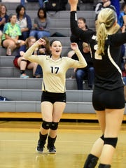 "Playing the libero position, Buffalo Gap's Emily McComas celebrates a point during a volleyball match played at Buffalo Gap on Oct. 27, 2016.""Usually, I try to focus on backing up everybody and really reading the ball,"" said McComas."