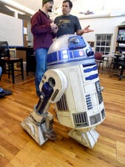 Andy Wiseman's R2-D2 chirps and moves for those gathered