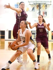 Buffalo Gap's Marybeth Strickler looks to the basket