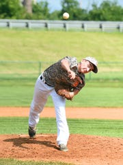 Augusta's Jacob Gordon delivers a pitch in the second inning of the 14-year-old state tournament in 2015. Babe Ruth Baseball and the VHSL adopted pitch-count rules in early December that will go into effect for their programs starting in the 2017 season.