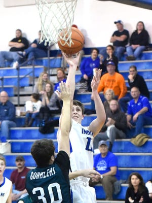 Fort Defiance's Zachary Eppard shoots during a Conference 29 quarterfinal game played in Fort Defiance on Saturday, Feb. 13, 2017.