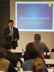 EPISO lead organizer Arturo Aguila spoke at a gathering