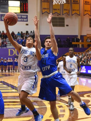 Robert E. Lee's Jayden Williams shoots while guarded by Gates City's Hunter Collier with teammate Darius George behind them during a Group 2A state quarterfinal basketball game played at James Madison University on Friday, March 3, 2016.