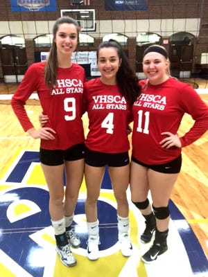 Lee High's Jennifer Williams (9) and MacKenzie Bowles (4), and Buffalo Gap's Camille Ashby (11) were part of the East team in Sunday's VHSCA all-star volleyball game.
