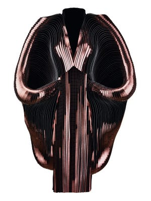 """Iris van Herpen: Transforming Fashion"" opens Feb. 24 at the Phoenix Art Museum. Iris van Herpen, Hybrid Holism, Dress, July 2012. Metallic coated stripes, tulle, and cotton. Collection of the designer."