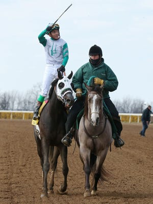 Jockey Luis Contreras after riding Warrior's Club to a victory in the Commonwealth Stakes at Keeneland in April 2018.