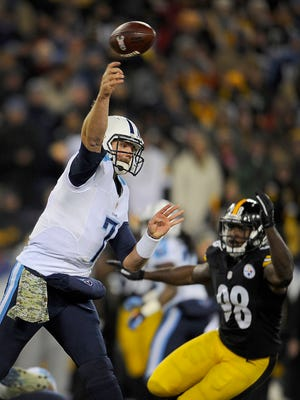Titans quarterback Zach Mettenberger throws a pass against Pittsburgh in Monday night's game.