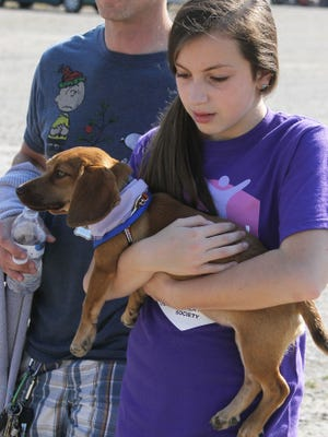 Jenna Kent carries Indie on the home stretch of the Oshkosh Area Humane Society's Walk for the Animals at the Sunnyview Expo Center on Saturday.