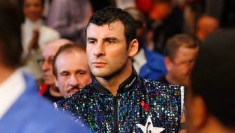 Nov 8, 2008; New York, NY, USA; Joe Calzaghe makes his way to the ring before his 12 round fight against Roy Jones Jr. at Madison Square Garden.  Calzaghe defeated Jones via unanimous decision.  Mandatory Credit: Ed Mulholland-US PRESSWIRE ORIG FILE ID:  20081108_jla_se8_136.jpg