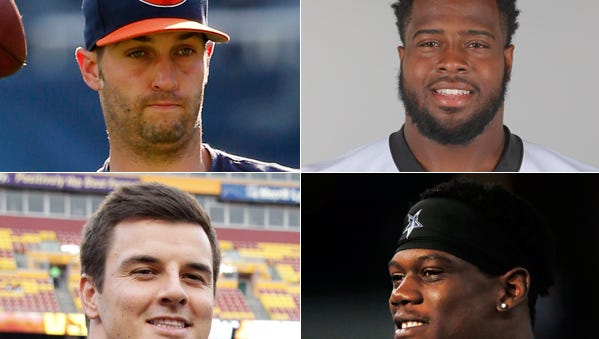 Jay Cutler (clockwise from top left), Kawann Short, Randy Gregory and Ryan Kerrigan are among the Indiana high schoolers who now dot NFL rosters.