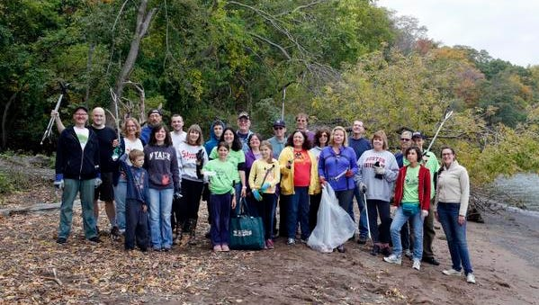 The Journal News / lohud team joins other volunteers in a Keep Rockland Beautiful clean-up at a beach in Haverstraw, Oct. 18, 2014.