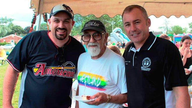 "Sam ""Mr. Westland"" Corradio (center) celebrating his birthday with Wayne Councilman John Rhaesa (left) and Westland Mayor William Wild."